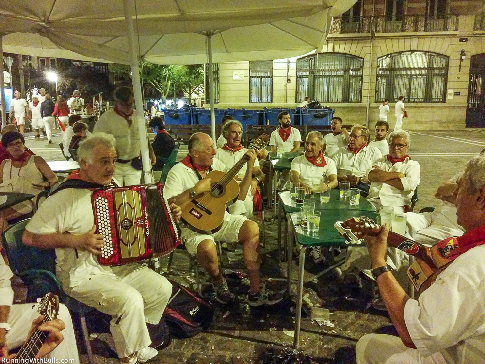 8 gentlemen from French Basque region singing aires Vascos in Plaza De Consejo, 8th July 2015