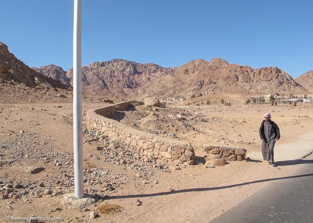 A man walking along a road