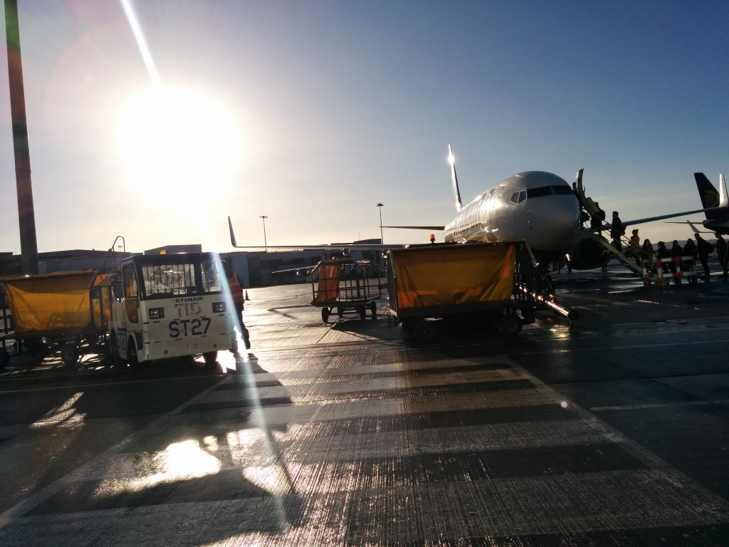Airplane on the tarmac in Dublin airport.