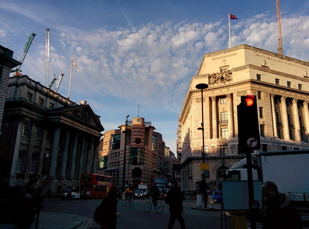 London Bank in early twilight