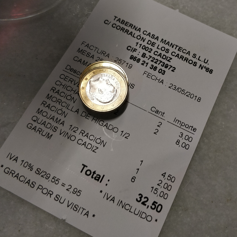 The bill from Casa Manteca. Barato barato!