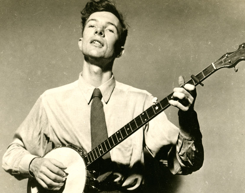 Black and white photo of Pete Seeger
